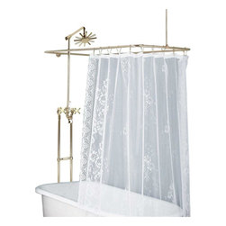 Renovators Supply - Shower Surrounds Solid Brass Rectangular Surround Cross Faucet - Floor-Mount: Complete your vintage bathroom! This faucet features classic solid brass cross  handles & diverter lever. Faucets are labeled HOT & COLD. Brass PVD (Physical Vapor Deposition) construction means that this faucet will be around for a while without tarnishing. It includes a 38 in. ceiling brace and a 16 in. wall brace. Riser shower adjusts in length from 33 1/2 to 61 inches. Luxurious Rainfall showerhead included.