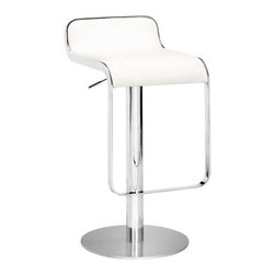 ZUO - Equino Barstool - White - A smooth S-shaped seat makes the Equnio Barstool comfortable and stylish. An elongated frame allows you to comfortably rest your feet, and the height is adjustable from counter to bar. Comes in red, black, white, or espresso.