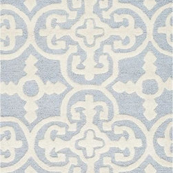 Safavieh - Safavieh Cambridge CAM133A 10' x 14' Light Blue Rug - Bring classic style to your bedroom, living room, or home office with a richly-dimensional Safavieh Cambridge Rug. Artfully hand-tufted, these plush wool area rugs are crafted with plush and loop textures to highlight timeless motifs updated for today's homes in fashion colors.