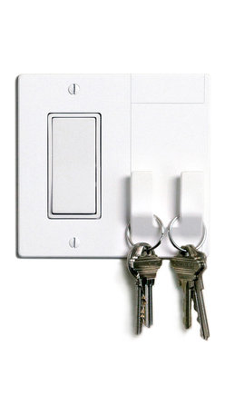 """Walhub - 1Hang // Rocker - This is one of those times when you say, """"Why didn't I think of that?"""" The underutilized light switch plate finally has another purpose. Incorporated into its design are two hooks that can store your keys, umbrella or purse. Simple and yet brilliant."""