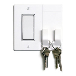 "Walhub - 1Hang // Rocker - This is one of those times when you say, ""Why didn't I think of that?"" The underutilized light switch plate finally has another purpose. Incorporated into its design are two hooks that can store your keys, umbrella or purse. Simple and yet brilliant."