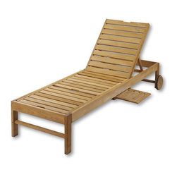 Teak Chaise Chair - This sturdy lounge chair is made of teak that will stand up to the weather. Cushion sold separately.