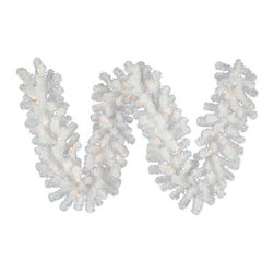 """Vickerman - Crystal Wht Garl Dura-Lit 200CL (9' x 20"""") - 9' x 20"""" Crystal White Spruce Garland with 290 Tips, 200 Clear Dura-Lit Lights"""