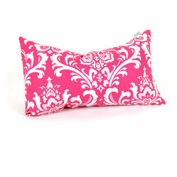Indoor Hot Pink and White French Quarter Small Pillow