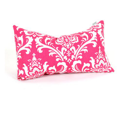 Majestic Home - Indoor Hot Pink and White French Quarter Small Pillow - Upgrade your pillow talk with this winning pattern, available in your choice of colors. It's a fresh alternative to stripes or florals, and its durable cotton twill blend feels as good as it looks.