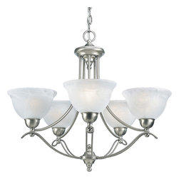 """Progress Lighting - Avalon Five Light Single Tier Up Lighting Chandeliers - Progress Lighting P4068 Avalon 5 Light Chandelier Five-light chandelier with swirled alabaster glass. ,. This item by Progress Lighting is offered in brushed nickel. Works with five 100-watt frosted incandescent bulbs. Part of the Avalon collection. Swirled Alabaster glass. Wire rope accents. Includes 6' of 9 gauge matching chain. Mounting strap for box included. Canopy diameter: 5"""". Includes 15' of wire. Medium base ceramic sockets. Threaded socket ring secures glass. Pre-wired. UL-CUL Listed. Number of Bulbs: 5. Bulb Base: Medium (E26). Bulb Type: Incandescent or Fluorescent. Bulb Included: No. Watts Per Bulb: 100. Wattage: 500. Dimmable: Yes. Height: 22.63"""". Diameter: 26.5"""". Canopy Length: 5"""". Canopy Width: 5""""."""