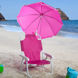 W C Redmon - Kids Pink Beach Chair & Umbrella - 9001HPK - Shop for Childrens Outdoor Furniture from Hayneedle.com! Give your child the Kids Pink Beach Chair & Umbrella and protect her or him from the sun's harmful rays. Kids love toting their very own chair to the beach on a camping trip to a picnic or on family outings. The Kids Pink Beach Chair & Umbrella is lightweight and easy to transport. It folds into a compact flat unit for storage when not in use. Its nylon material is durable and washable.The permanently attached umbrella is not removable - it's adjustable to several angles providing shade throughout the day. It features white piping around its material. All seams are double stitched for durability. The frame is metal tube with baked scratch-resistant enamel for weather protection and wear. The Kids Pink Beach Chair & Umbrella weighs less than 3 lbs.