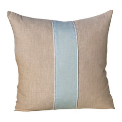 PillowFever - Linen Pillow Cover in Natural with Sky Blue Accent Stripe and Cotton Rope - Pillow insert is not included!