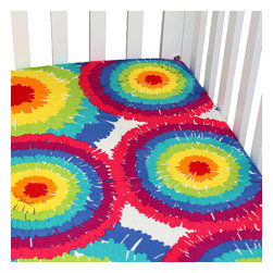 "Terrific Tie Dye - Tie Dye Crib Sheet - Be one of a kind with our  bold and beautiful collection ""Terrific Tie Dye"".  Crib sheet in the collections tie dye cotton fabric."