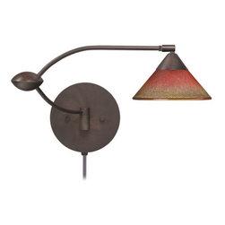 Bronze Metal with Kona Sunset Glass Plug-In Besa Wall Lamp -