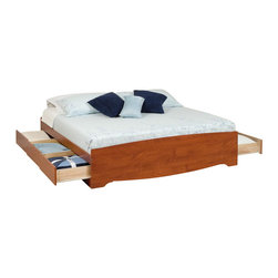 Prepac - King Platform Bed in Cherry Finish - Includes six drawers. Drawers for store any clothing, linens and blankets. Sleekly designed and practical. Sides glide on metal runners with built-in safety stops. Suitable for standard king sized mattresses. Finger pulls at the bottom of each drawer front for easy opening. Weight capacity: 500 lbs.. Warranty: Five years. Made from CARB-compliant, laminated composite woods. Made in North America. Drawer: 23.25 in. W x 18 in. D x 5 in. H. Overall: 81.5 in. L x 78.5 in. W x 18.75 in. HEnjoy floor space and storage with the King Mates Platform Storage Bed. With three drawers on each side, theres room for everyones stuff. Dont worry about a box spring, the slat support system needs only a mattress. Wood slats positioned length-wise distribute body weight evenly to ensure a good nights sleep.