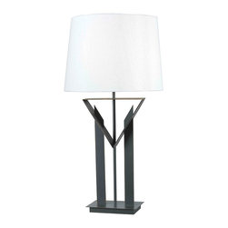 Kenroy - Kenroy 32071BRZ Montrose Contemporary Table Lamp - The charm of Art Deco meets the warmth of modern design in Montrose. The chevron's influence on this lamp base gains added versatility from a Bronze finish and smart White shade.