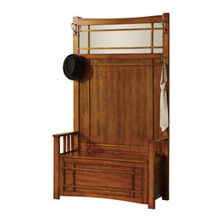 Adarn Inc - Oak Wood Large Hall Tree W/ Top Mirror Storage Bench Side Coat Hat Rack Hook - Decorate your hall or entryway with this large hall tree and storage bench. It is crafted with a rich and livening oak finish that is sure to brighten your home with its presence. It stands 69.25 inches tall and features four side hooks for coats, hats, and scarves. A top mirror adds a beautiful visual accent, and wood slatted arm rests add seating comfort on the storage bench. The bench has a lift top for you to tuck away blankets, coats, shoes, or other accessories.