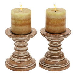 Benzara - Candle Stands - Wood Candle Holder Pair 6in.H, 5in.W - Size: 5 Wide x 5 Depth x 6 High (Inches) Pair