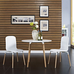 Stack Wood Dining Chairs and Table Set of 3 in White (EEI-1374-WHI) - Acquaint yourself with an intelligent piece concealed behind sheer simplicity. Stack exhibits fluid lines and an organic form in a seamless transition from the abstract to the definite. Made from a painted durable steel top and solid beech wood legs, Stack coalesces both form and purpose in a harmoniously designed piece that matches well in any uncomplicated decor. Set Includes: One - Stack Circular Side Dining Table Two - Stack Wood Dining Chairs