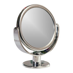 Floxite - 2 Sided Vanity Mirror - Powerful 8x magnifying glass on one side rotates to 3x on the other side. Distortion free DFP glass. Adjustable angle for easy viewing. Tweeze eyebrows perfectly, see facial hair for easy removal, apply makeup more precisely. Made from plastic and glass. Chrome finish. No assembly required. Viewing area: 6 in.. Overall: 8 in. W x 4.5 in. D x 10 in. H (5lbs.)Magnifying vanity mirror adjusts to different angles so you can position it exactly right for you. Distortion free optical quality glass provides the clearest image possible. Uses include eyebrow tweezing, makeup application, skin care or facials, contact lens insertion, eye and ear care, oral hygiene or flossing. The 3X side magnifies enough to have a look at the entire area, then you can pivot the mirror on its base for a closer view with the 8X mirror.