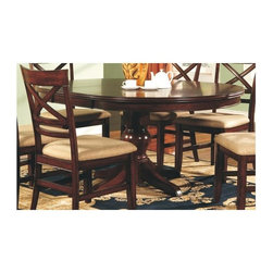 Winners Only - Topaz Round Dining Table - Chairs not included. Pedestal table. 18 in. table leaf extension. Made from wood. Cherry finish. Minimal assembly required. Minimum: 48 in. Dia. x 30 in. H (148.9 lbs.). Maximum: 66 in. L x 48 in. W x 30 in. H (148.9 lbs.)