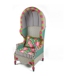 Greenhouse Outdoor Bonnet Chair | MacKenzie-Childs - This stunning bonnet chair provides optimum protection from the sun, while being a riot of color on any patio or sun room. Dramatic and comfortable, it features a solid iron frame, intricately hand-woven in bright resin wicker in shades of teal, green, pink, white, and orange. For added fun, acrylic roses and leaves have been attached to the chair apron and bonnet interior. This fabulous chair comes with a reversible seat cushion—rose-on-lattice pattern on one side, and a graphic weave-inspired plaid on the other—complemented by boxing in a black and white awning stripe, and swirled outdoor welt cord. Includes one Greenhouse Outdoor Lumbar Pillow.