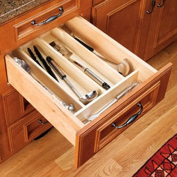 Rev-a-Shelf Wood Utility Tray Insert - Dimensions:Height options for 18-inch widths18.5W x 22D x 2.375H inches18.5W x 22D x 2.875H inchesHeight options for 24-inch widths 24W x 22D x 2.375H inches24W x 22D x 2.875H inchesAbout Rev-A-ShelfRev-A-Shelf, a Jeffersontown, Kentucky-based company has been dedicated to the creation of innovative, useful residential cabinet storage and organization products since 1978. The company manufactures a wide variety of functional products such as lazy susans, kitchen drawer organizers, and childproof locking systems. A global market leader, Rev-A-Shelf is known for its superior quality and versatility.