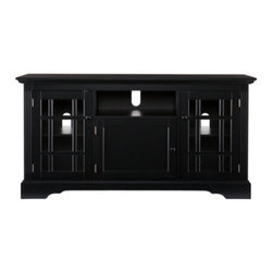 "Grandin Road - Cullerton TV/Media Stand - Classic black media cabinet with ample, versatile storage. Features two windowed cabinets (each with an adjustable shelf inside), one closed center cabinet, and one open center shelf. Crafted from engineered wood and 5mm tempered glass (in windowed cabinet doors). Painted black finish. Accommodates a flat panel TV, up to 53"". Sleek and teeming with all the right storage spaces, the Cullerton TV and Media Stand offers four classic compartments for all of your components. Two side cabinets feature glass doors detailed with classic mullions, and inside, adjustable interior shelves. In the center: a fully closed cabinet and an open shelf. Three cord management openings allow for connecting multiple game or media consoles.. . . . . Equipped with three cord management openings. Some assembly required (screwdriver required, not included). Maintain finish with furniture cleaner. Imported."