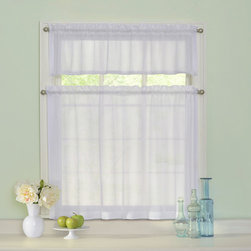 Curtainfresh - White Odor Neutralizing Tier Set - - Add classic style to any window in your home with sheer voile kitchen tiers by Curtain Fresh?. Now any room can look great and smell fresh too with the Curtain Fresh patented odor-neutralizing technology. Arm & Hammer, Curtain Fresh odor neutralizing sheers continuously neutralize unpleasant odors created by cooking, pets, smoke, must and mold. The ultimate blend of fashion and function ? each Curtain Fresh odor neutralizing 3-piece tier set continuously helps to keep your home smelling fresh, even when you?re not there. Hang Curtain Fresh curtains in the room where your pet sleeps to help remove pet odors all day long. Enjoy a fresher kitchen, baby?s room, bathroom, playroom and bedroom with Curtain Fresh odor-neutralizing tiers. The photo catalytic process converts unpleasant odors into water vapor and carbon dioxide, thus causing airborne pollutants and odorous substances to degrade and neutralize. Independent testing has shown that Curtain Fresh curtains continuously neutralize odors for up to five years, with up to one washing per year. This innovative home cleaning solution was developed with the makers of Arm & Hammer?, the trusted name in cleaning, freshening and deodorizing products for the home. Kitchen tiers are unscented. Each sheet kitchen tier set includes one 56? wide x 14? long rod pocket valance and two 27? wide by 32? long rod pocket tiers. Available in white and ivory. Set requires two curtain rods for hanging. Curtain rods sold separately. Easy care, machine washable 100% polyester sheers. Imported. Curtainfresh - 13296056X036WHI