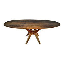 VT Collection - Oval Walnut Table, Modern Design, Solid Walnut - This is a beautifully modern and architecturally designed Oval Walnut table. It adds a wonderful design statement to your space. This table is highly figured and is the first of these series of oval Walnut tables, made with trending, even-toned/colored Walnut. There is an extensive wait on the acquirement of this figured Walnut due to its rarity.
