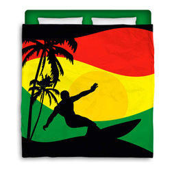"Made In USA ""Surfer Mon"" Surfer Bedding F/Q Comforter - Surf Into Bed with this F/Q Rasta /Reggae Flavored ""Surfer Mon"" Premium Comforter From Our Rasta / Surfer Bedding Bed and Bath Collection."