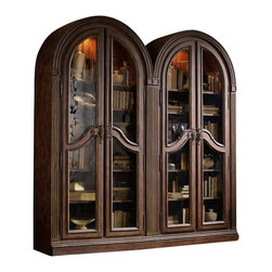 Hooker Furniture - Hooker Furniture Adagio Glass Doors Bunching Curio - Hooker Furniture - Curio Cabinets - 509150001 - Grand scale classic design and soft flowing shapes are married with a rich dark finish to give birth to the stunning Adagio collection.