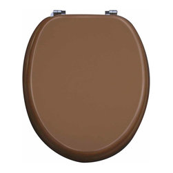Renovators Supply - Toilet Seats Chrome Fiber Golden Toilet Seat Chr. Hinges | 17099 - Bathroom Toilet Seat, Golden Toilet Seat: Printed MDF toilet seats: Made of densely engineered fibers this seat is designed for maximum strength and durability and easily outlasts all other MDF seats. Printed on all 3 sides this seat is always decorative when the lid is up or down! Made of sturdy polymer, the bumpers prevent rocking and keep the seat safely in place. Tarnish resistant chrome-plated solid brass oval hinges easily wipe clean and fit standard 5 1/2 inch hole spacing on center. Oval hinges are adjustable but not recommended for adjusting on standard US toilets. May not be compatible with other brand name toilets. Seat measures: 16 7/8 inch x 14 1/2 inch Lid measures: 16 1/8 inch x 13 3/8 inch Elongated shape bathroom toilet seat.