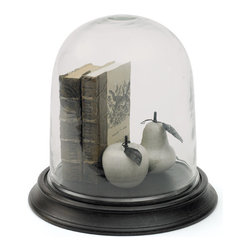Go Home - Glass Phillip Cloche - Phillip Cloche has wood base with clear glass cloche and has dark waxed finish that give it fabulous look.perfect for home decor.