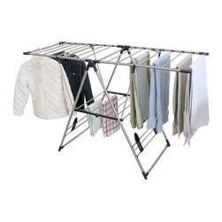 Greenway® GFR0501SS X-Large Fold Away Laundry Rack - The Greenway GFR0501SS X-Large Fold Away Laundry Rack gives you all the room you need to dry your clothes the natural way with a convenient fold-away design. With 24 lines for hanging, the laundry rack also features a drying space for shoes and slippers. It has convenient adjustable arm settings, and is easy to set up and take down. Dimensions: 62W x 24D x 39H inches.About Greenway Home ProductsGreenway Home Products is a diversified home products company that designs, develops, manufactures, and markets an extensive line of residential appliances. The extensive line-up of products includes water dispensers, water treatment accessories, laundry racks, solar fountains, wine cabinets, and electric fireplaces, all of which incorporate cutting-edge design and technology. Designed and engineered in Canada, all of Greenway's products are made with a strong commitment to design and innovation.