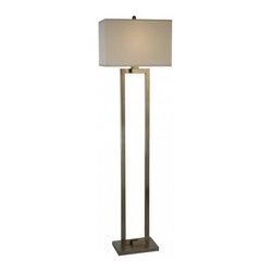 Joshua Marshal - One Light Brushed Nickel Off-White Shantung Shade Floor Lamp - One Light Brushed Nickel Off-White Shantung Shade Floor Lamp