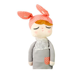 miniroom AB - Bunny Doll, Pink/Grey - Dreamy fine bunny doll sold exclusively in the US via Sunday in Color! Originally from Sweden, the doll is part of Miniroom AB own collection. Wonderful Christmas gift, baby shower or birthday gift!