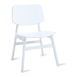 Bryght - Margo White Dining Chair - A throwback to the 60s, the Margo chair brings character to a space with its sleek retro lines. Choose from a wide variety of upholstery options.