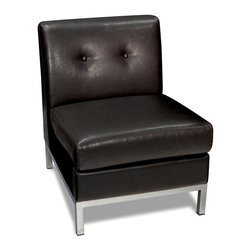 Ave Six - Faux Leather Modular Chair in Espresso with Tufted Back - Whether you use it as an accent chair or pair it with coordinating pieces to create a sectional, this faux leather modular chair will be a stylish addition to your decor. The chair features button tufted accents and a durable hardwood frame, and is accented by a steel base for added impact. Coordinating pieces are available separately.