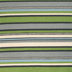 Jaipur Rugs - Stripe Pattern Green Indoor/ Outdoor Rug - CO01, 3.6x5.6 - Bring visual pop to outdoor living with the Colours I-O Collection. This energetic range of stripe, zigzag and stair-step designs bring together a myriad of multicolor palettes all in durable, hand-hooked polypropylene construction. With its fashion-forward styles and bold scale, each design can function in a broad range of contemporary and transitional spaces both indoor and out.