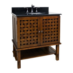 """Hardware Resources - 31-1/2"""" Wide Solid Wood Vanity  VAN055-T - This 31-1/2"""" wide solid wood vanity has a unique basket weave design on the cabinet doors and open shelf give an airy feel. A large cabinet provides ample storage.  This vanity has a 2CM black granite top preassembled with an H8809WH (15"""" x 12"""") bowl, cut for 8"""" faucet spread, and corresponding 2CM x 4"""" tall backsplash.  Overall Measurements: 31-1/2"""" x 22-1/2"""" x 35"""" (measurements taken from the widest point) Finish: Painted Nutmeg"""