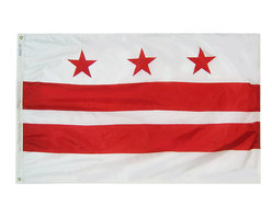 Flagline - Washington, DC (district of columbia) - 6'X10' Nylon Flag - Designed for outdoor use, these beautiful long-wearing 6' x 10' Washington DC flags are crafted from the highest quality 200-denier nylon. The colors are dyed into the fabric for superior penetration and color-fastness. Attaching to a pole is easy with the canvas header and brass grommets on the 6' side. The hem on the fly end of the flag features 4 lock stitched rows to help prevent premature fraying. The authentic designs are based on information from official sources.