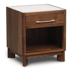 Copeland Furniture - Copeland Furniture | Contour 1 Drawer Nightstand - 2014 design. Made in Vermont by Copeland Furniture. The Contour 1 Drawer Nightstand speaks to the modern style that is found at the heart of the Contour Bedroom Collection. This sleek nightstand stands at 22-inches high and features a low shelf plus one drawer to helps hide away clutter. The nightstand is crafted in solid American walnut plus an inset laminated glass top. Available in one of two satin surface finishes: standard Copeland Lacquer top coat or formaldehyde free Copeland Water Based top coat. Product Features:  Crafted from solid black walnut Finished with a silky, smooth to the touch top coat Resists stains, moisture rings and spots, heat damage (from hot beverages, etc.), and abrasions Made from sustainably harvested hardwoods from the American Northern Forest All lumber comes from within 500 miles of Copeland Furniture's factory in Vermont