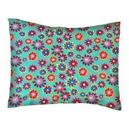 SheetWorld - SheetWorld Twin Pillow Case - Percale Pillow Case - Floral Turquoise-Made in USA - Twin pillow case. Made of an all cotton woven fabric. Side Opening. Features a beautiful floral print on a turquoise background.