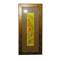 Golden Lotus - Vintage Hand Embroidery Framed Scenery Wall Decor - The center vintage hand cross pattern hand embroidery of oriental scenery and people is reframed. It adds a touch of oriental accent to the room quietly as well as a collectable piece.