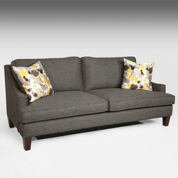 None - Malakai Dark Grey Sofa - Cozy with a casual feel, the Malakai sofa offers both comfort and polish for your home. Upholstered in dark grey polyester fabric, it features spacious track-style arms and plush Dacron wrapped cushion seats.