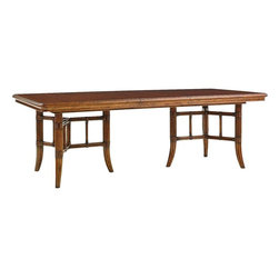 Lexington - Tommy Bahama Home Bali Hai Fisher Island Rectangular Dining Table - Entertaining on a grand scale begins with making a statement. Expanding to 112-inches with two 20-inch leaves, this dining table is sure to impress. Its quartered Cherry veneer top features a sophisticated maple border and ebony inlay. Each pedestal has three leather wrapped saber-shaped rattan legs.