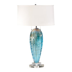 "Inviting Home - Aqua Venetian Glass Table Lamp - Hand-blown aqua and clear Venetian glass lamp 16-3/4""W x 28-1/2""H made in Italy Hand-blown aqua and clear Venetian glass lamp. Table lamp has two lights and round hardback fabric shade; max.100 watts each bulb; UL approved; made in Italy. shade size: 16"" top 16-3/4"" bottom 8-3/4"" high"