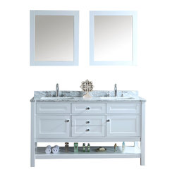 "Ariel - Mayfield 60"" White Double-Sink Bathroom Vanity Set - Inspired by traditional Hampton-style beach cottages, this vanity from our Mayfield collection combines an all-white finish with carrera marble countertop and decorative crystal knob hardware for a crisp, clean feel that goes well with any bathroom design. Two doors with soft-closing hinges.  3 soft-sliding drawers.  White carrera marble countertop (1"" edge) w/matching backsplash design.  All marble tops are finished by hand, pre-drilled for all 8"" widespread faucets, and double-sealed for scratch-resistance and long-term durability."