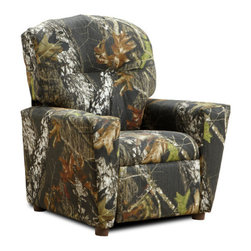 "KidzWorld - Mossy Oak Camouflage Children's Recliner - Features: -Children's recliner.-Recliner has a sturdy, mixed hardwood frame with a reclining mechanism made of steel.-Reclining mechanism has a safety feature, whereby, the footrest must be pulled out from the bottom before a child is able to recline back. Once seated in the chair, the child can safely recline back on their own by pushing back on the armrests.-Each recliner is filled with polyester fiber fill and polyurethane foam padding.-Armrests are slightly larger at the top, flattened top surface.-Padded front section for additional safety and to ensure no sharp edges.-Recessed plastic cup holder in the top of the right-hand armrest.-Made in the USA.-Mossy Oak collection.-Product Type: Chair.-Collection: Mossy Oak.-Finish: Camouflage.-Hardware Finish: Steel.-Distressed: No.-Powder Coated Finish: No.-Gloss Finish: No.-Frame Material: Mixed hardwood.-Hardware Material: Steel.-Solid Wood Construction: Yes.-Number of Items Included: 1.-Non-Toxic: No.-UV Resistant: No.-Fire Resistant: No.-Stain Resistant: No.-Mildew Resistant: No.-Insect Resistant: No.-Arms Included: Yes.-Upholstered Seat: Yes -Seat Upholstery Material: Polyester fibers & densified fibers.-Seat Upholstery Color: Camouflage.-Removable Seat Cushions: No.-Seat Cushion Fill Material: Polyester fibers & densified fibers.-Removable Seat Cushion Cover: No.-Tufted Seat Upholstery: No.-Welt on Seat Cushions: No..-Upholstered Back: Yes -Back Upholstery Material: Cotton.-Back Upholstery Color: Camouflage.-Removable Back Cushions: No.-Back Cushion Fill Material: Polyester fibers & densified fibers.-Removable Back Cushion Cover: No.-Tufted Back Upholstery: No.-Welt on Back Cushions: No..-Nailhead Trim: No.-Rocker: No.-Swivel: No.-Glider: No.-Reclining: Yes.-Footrest Included: Yes.-Stackable: No.-Foldable: No.-Inflatable: No.-Legs Included: Yes -Number of Legs: 4.-Leg Material: Plastic.-Protective Floor Glides: No..-Casters: No.-Cupholder: Yes.-Skirted: No.-Ottoman Included: No.-Adjustable Height: No.-Ergonomic Design: No.-Age Recommendation: 3 to 7 yrs..-Outdoor Use: No.-Seating Capacity: 1.-Weight Capacity: 75 lbs.-Swatch Available: No.-Commercial Use: No.-Recycled Content: No.-Eco-Friendly: Yes.-Product Care: May be wiped clean with damp cloth and mild soap, air dry.-Country of Manufacture: United States.-Convertible: No.Specifications: -Material: 50% Wood; 15% Densified Fiber; 5% Polyester Fiber fibers; 8% Metal; 2% Plastic; 20% Fabric.-FSC Certified: No.-CPSIA or CPSC Compliant: Yes.-CARB Compliant: Yes.-Green Guard Certified: No.Dimensions: -Overall Height - Top to Bottom: 28"".-Overall Width - Side to Side: 24.5"".-Overall Depth - Front to Back: 23"".-Seat Height: 13.5"".-Seat Width - Side to Side: 14"".-Seat Depth - Front to Back: 14"".-Legs: -Leg Height: 2"".-Leg Width: 1.5"".-Leg Depth: 1.5""..-Arms: -Arm Height: 15"".-Arm Width: 5""..-Depth When Fully Reclined: 27"".-Overall Product Weight: 32 lbs.Assembly: -Assembly Required: No.-Additional Parts Required: No.Warranty: -Product Warranty: 30 days."