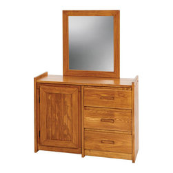 Chelsea Home - Dresser with Storage Door and Mirror - Rustic style. Hand finished stain with three step process to compliment natural wood grain. Hidden shelving. Three drawers for storing clothing and other bedroom items. Mirror thickness: 1 in.. Constructed for strength and durability. Warranty: One year. Made from solid pine wood. Honey finish. Made in USA. No assembly required. Mirror: 27 in. W x 31 in. H (9 lbs.). Dresser: 43 in. W x 17 in. D x 31 in. H (85 lbs.). Overall: 43 in. W x 17 in. D x 62 in. H (94 lbs.)