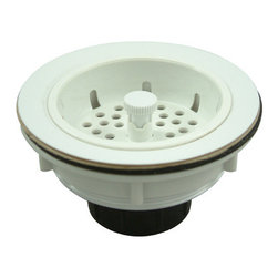 Kingston Brass - ABS Basket Strainer - The 4-1/2in. wide ABS basket strainer is a kitchen sink application essentially used to prevent particle buildup of small gravel, deposits from entering into the drain and water line. The strainer features an easy top-mount installation and is made of a special non-metallic material made for its hardness, gloss and toughness.
