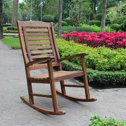 International Caravan - International Caravan Trinidad Acacia Oil Finish Porch Rocker - Add a touch antique style and classic comfort to your patio furnishings with this vintage style rocker. This rocker features an elegant, slatted high-back design and a stylish natural oil finish.