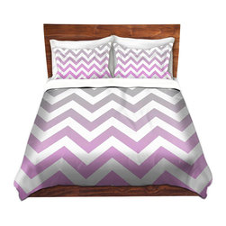 DiaNoche Designs - Duvet Cover Twill - Chevron Pink Grey - Lightweight and soft brushed twill Duvet Cover sizes Twin, Queen, King.  SHAMS NOT INCLUDED.  This duvet is designed to wash upon arrival for maximum softness.   Each duvet starts by looming the fabric and cutting to the size ordered.  The Image is printed and your Duvet Cover is meticulously sewn together with ties in each corner and a concealed zip closure.  All in the USA!!  Poly top with a Cotton Poly underside.  Dye Sublimation printing permanently adheres the ink to the material for long life and durability. Printed top, cream colored bottom, Machine Washable, Product may vary slightly from image.